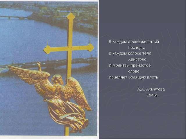 В каждом древе распятый Господь, В каждом колосе тело Христово, И молитвы пр...