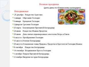 Великие праздники (даты даны по Юлианскому календарю): Неподвижные 25 декабря