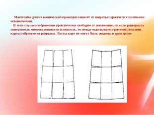 Масштабы длин в конической проекции зависят от широты параллели с нулевыми и