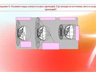 Задание 6. Назовите виды азимутальных проекций. Где находится источник света
