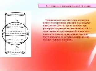 Нередко вместо касательного цилиндра используют цилиндр, секущий шар по двум