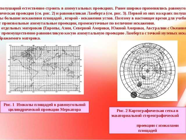 Карты полушарий естественно строить в азимутальных проекциях. Ранее широко п...