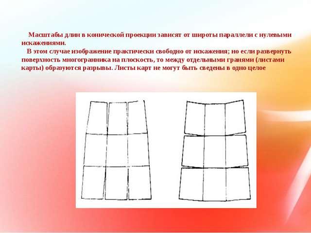 Масштабы длин в конической проекции зависят от широты параллели с нулевыми и...