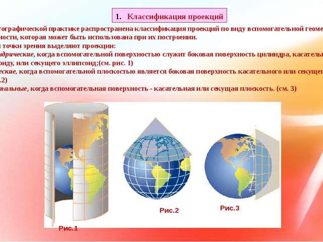 В картографической практике распространена классификация проекций по виду вс...