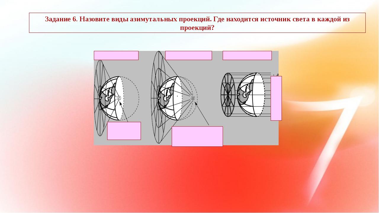 Задание 6. Назовите виды азимутальных проекций. Где находится источник света...