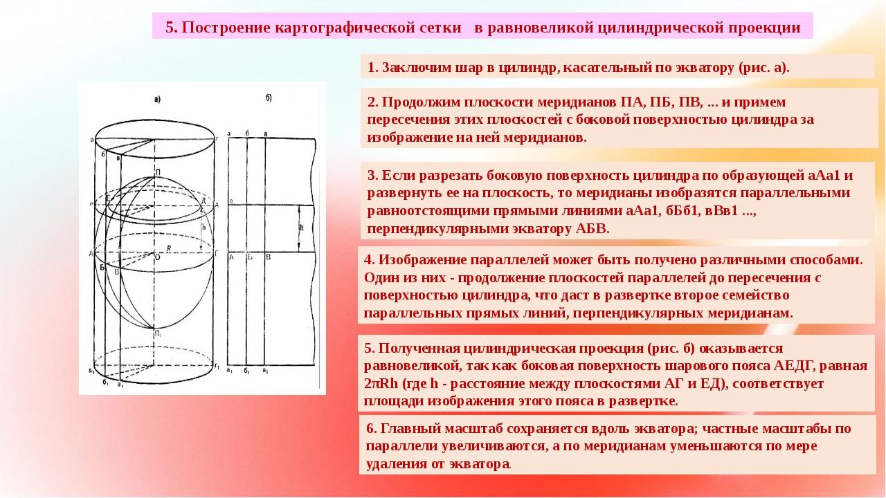 5. Построение картографической сетки в равновеликой цилиндрической проекции 1...