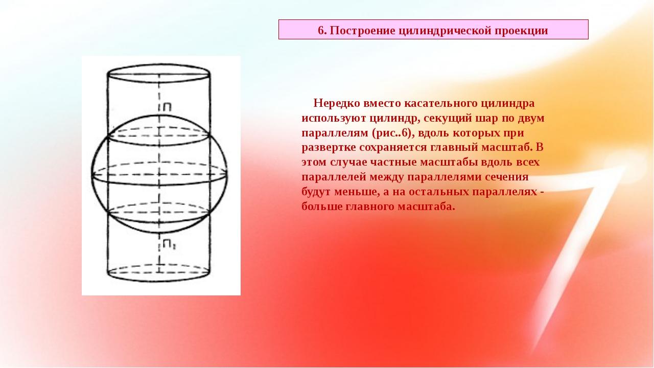 Нередко вместо касательного цилиндра используют цилиндр, секущий шар по двум...