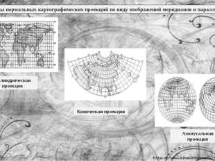 Виды нормальных картографических проекций по виду изображений меридианов и па