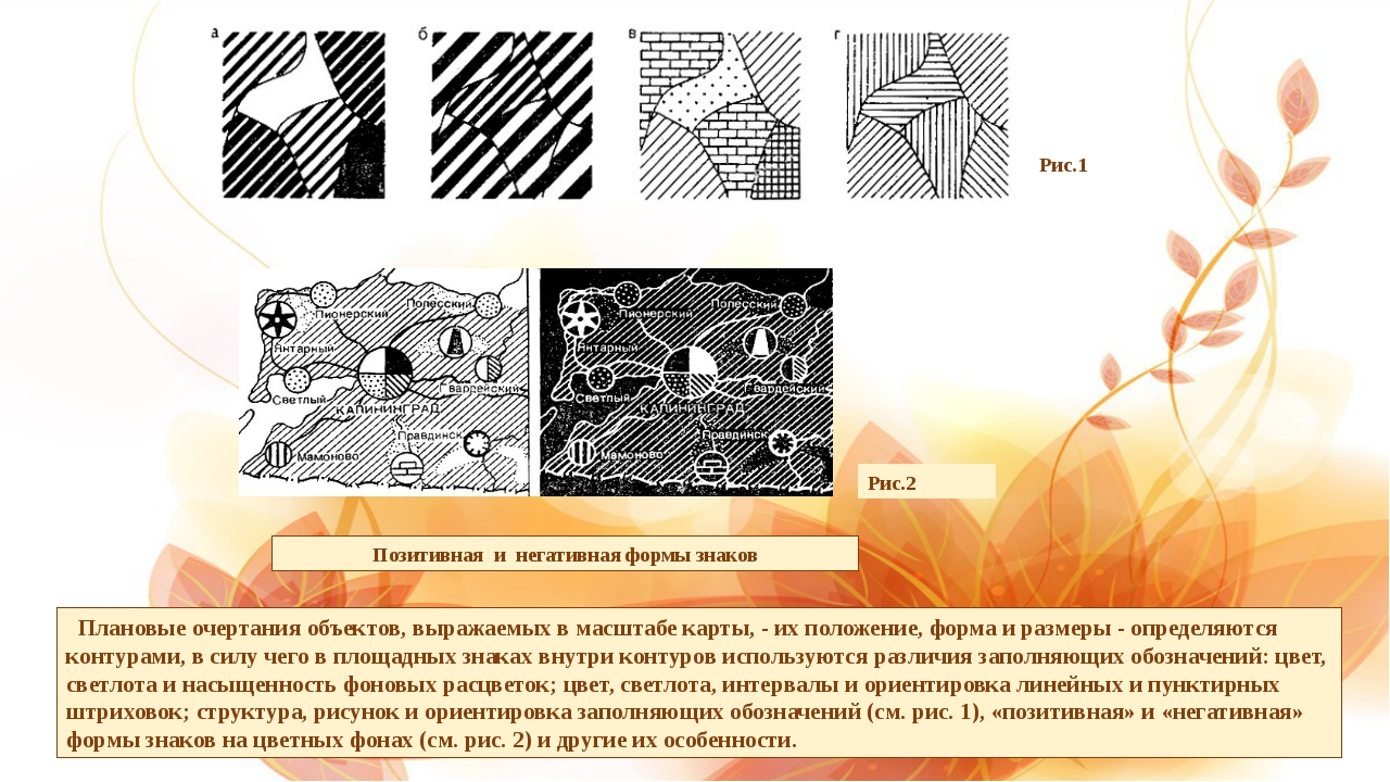 Плановые очертания объектов, выражаемых в масштабе карты, - их положение, фо...