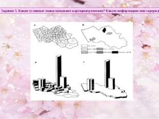 Задание 5. Какие условные знаки называют картодиаграммами? Какую информацию о
