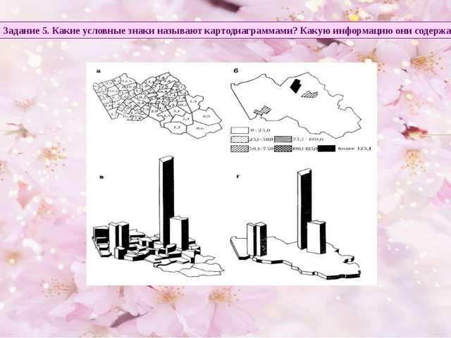 Задание 5. Какие условные знаки называют картодиаграммами? Какую информацию о...
