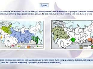 Ареалом (от латинского «area» - площадь, пространство) называют область расп