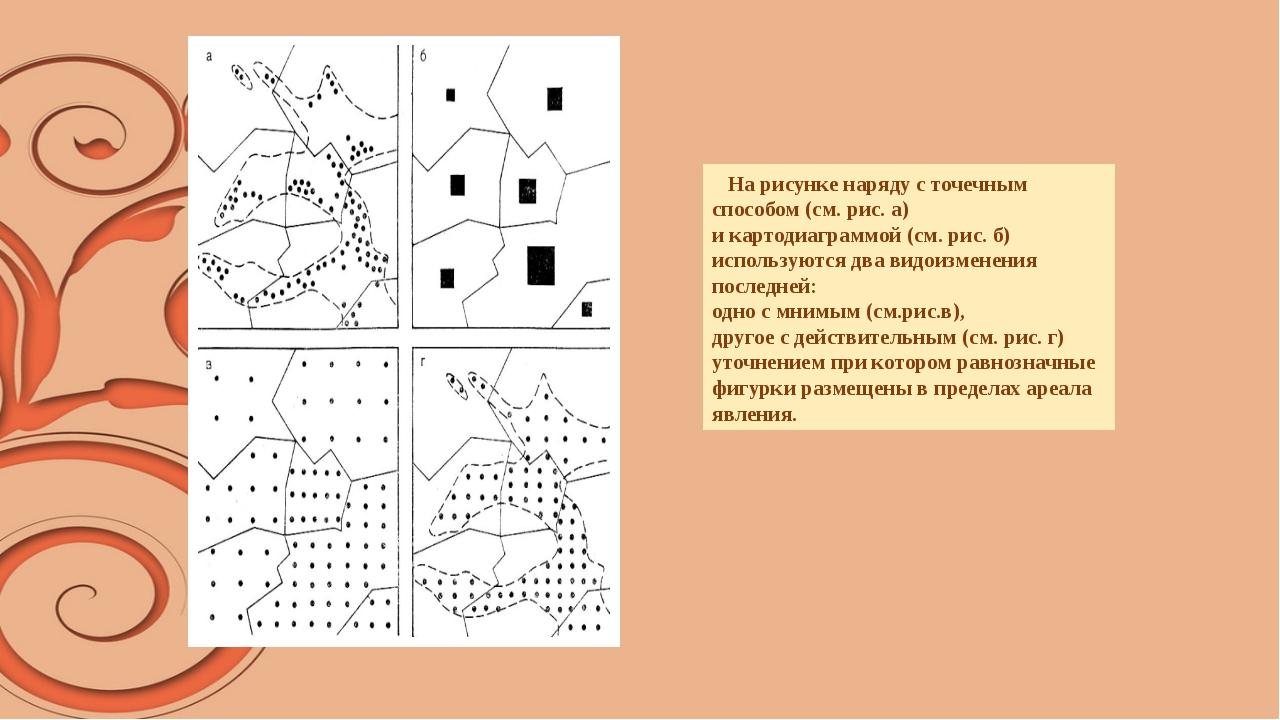 На рисунке наряду с точечным способом (см. рис. а) и картодиаграммой (см. ри...