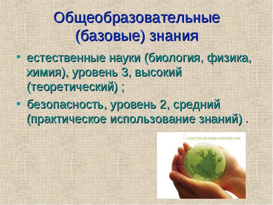 Общеобразовательные (базовые) знания естественные науки (биология, физика, хи...
