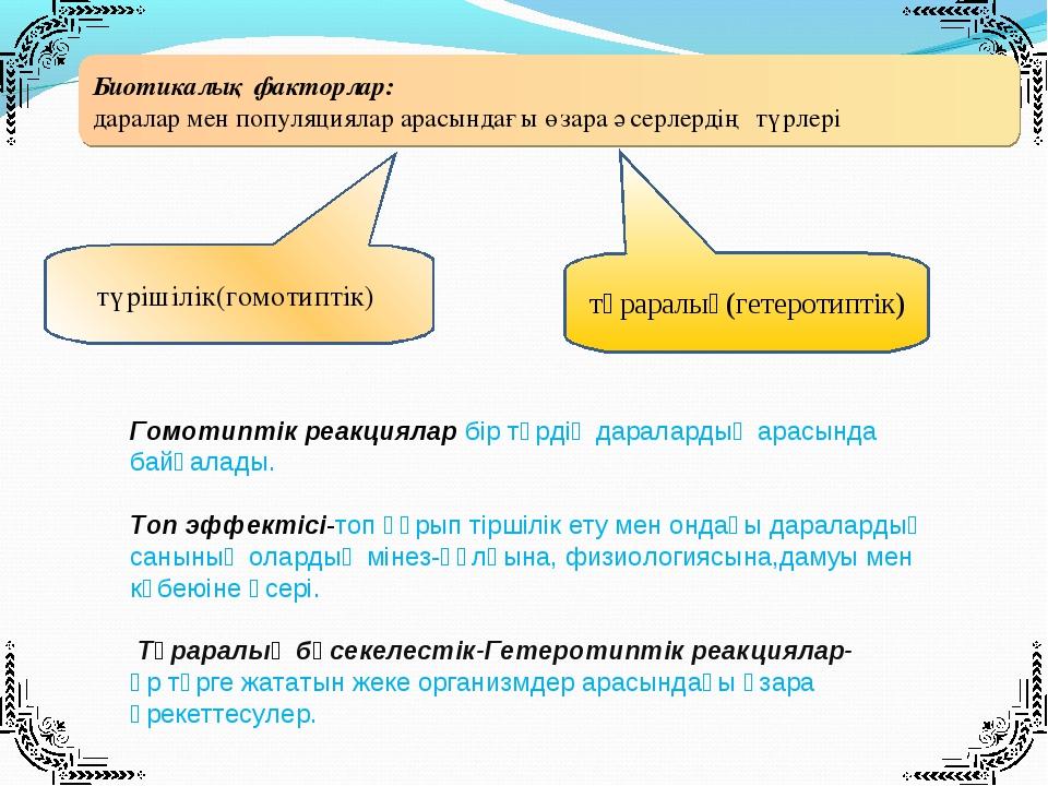 түраралық(гетеротиптік) түрішілік(гомотиптік) Биотикалық факторлар: даралар м...