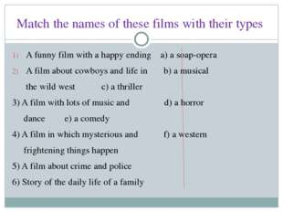 Match the names of these films with their types A funny film with a happy end