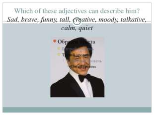 Which of these adjectives can describe him? Sad, brave, funny, tall, creative