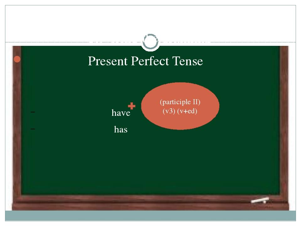 Revising the grammar Present Perfect Tense have has  (participle II) (v3) (v...