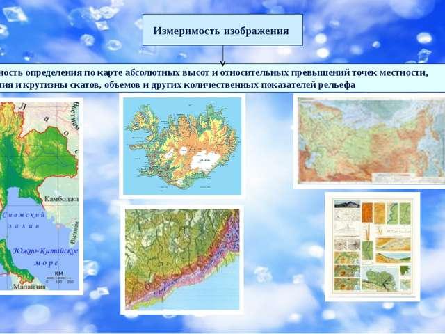 Измеримость изображения Возможность определения по карте абсолютных высот и...