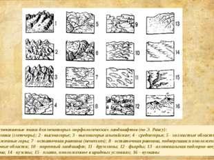 Перспективные знаки для некоторых морфологических ландшафтов (по Э. Раису):