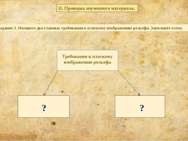 Задание 1. Назовите два главных требования к плоскому изображению рельефа. З...