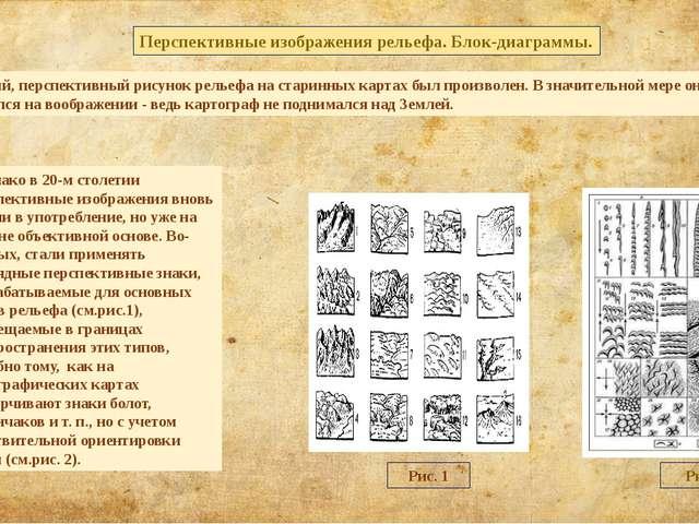 Картинный, перспективный рисунок рельефа на старинных картах был произволен....