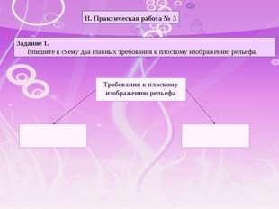 II. Практическая работа № 3 Задание 1. Впишите в схему два главных требования