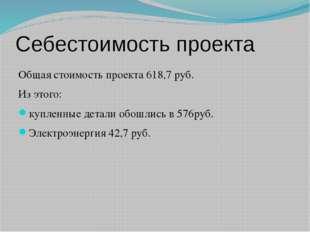 Себестоимость проекта Общая стоимость проекта 618,7 руб. Из этого: купленные