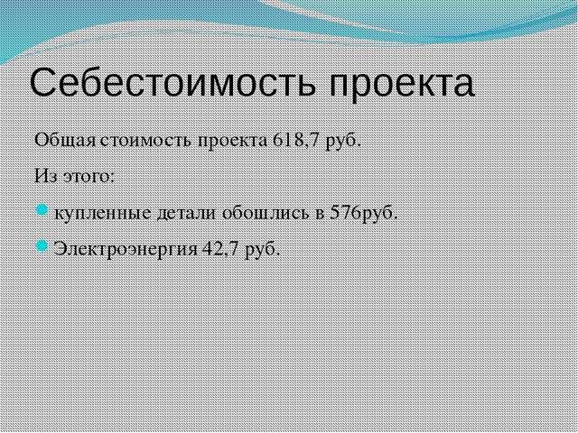 Себестоимость проекта Общая стоимость проекта 618,7 руб. Из этого: купленные...