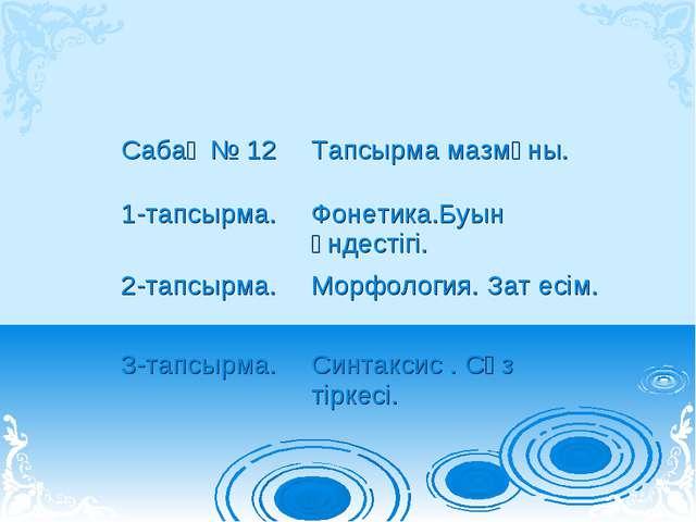 Сабақ № 12Тапсырма мазмұны. 1-тапсырма.Фонетика.Буын үндестігі. 2-тапсырма....