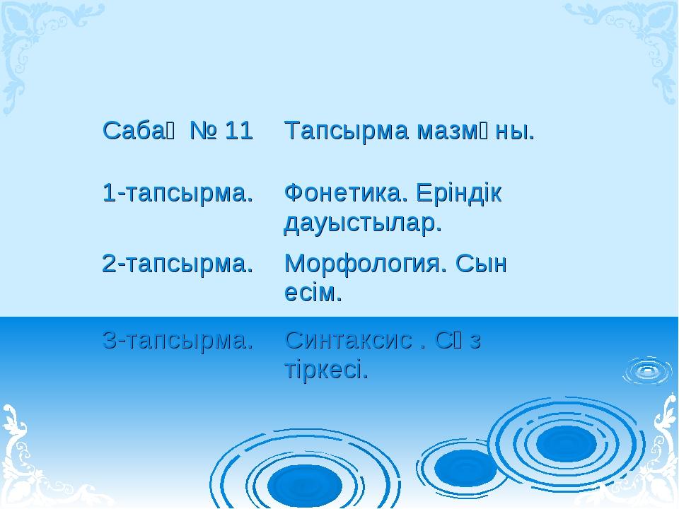 Сабақ № 11Тапсырма мазмұны. 1-тапсырма.Фонетика. Еріндік дауыстылар. 2-тапс...