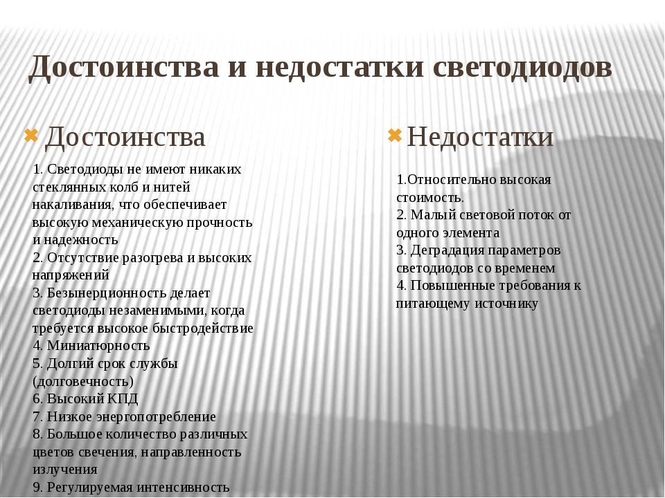 Достоинства и недостатки светодиодов Достоинства Недостатки 1. Светодиоды не...