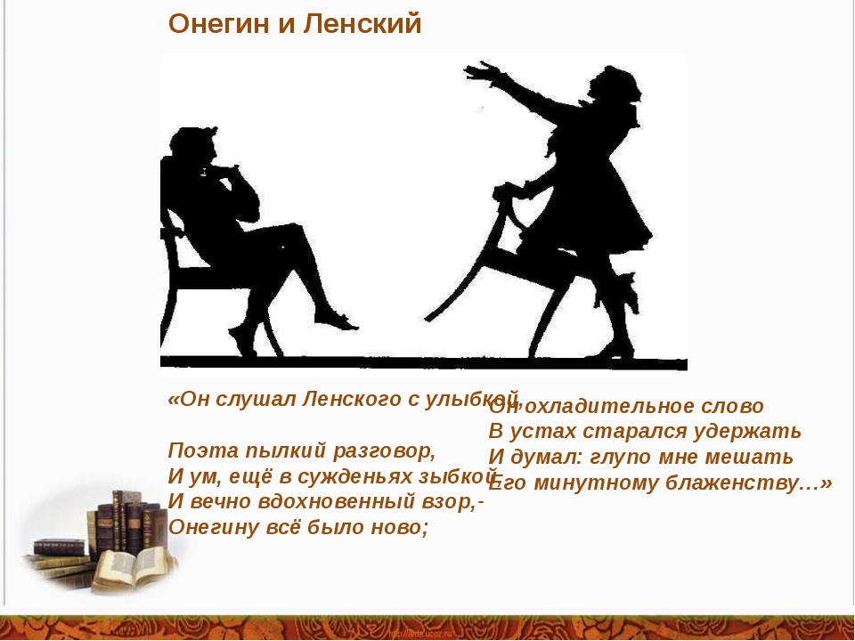 Онегин и Ленский «Он слушал Ленского с улыбкой, Поэта пылкий разговор, И ум,...