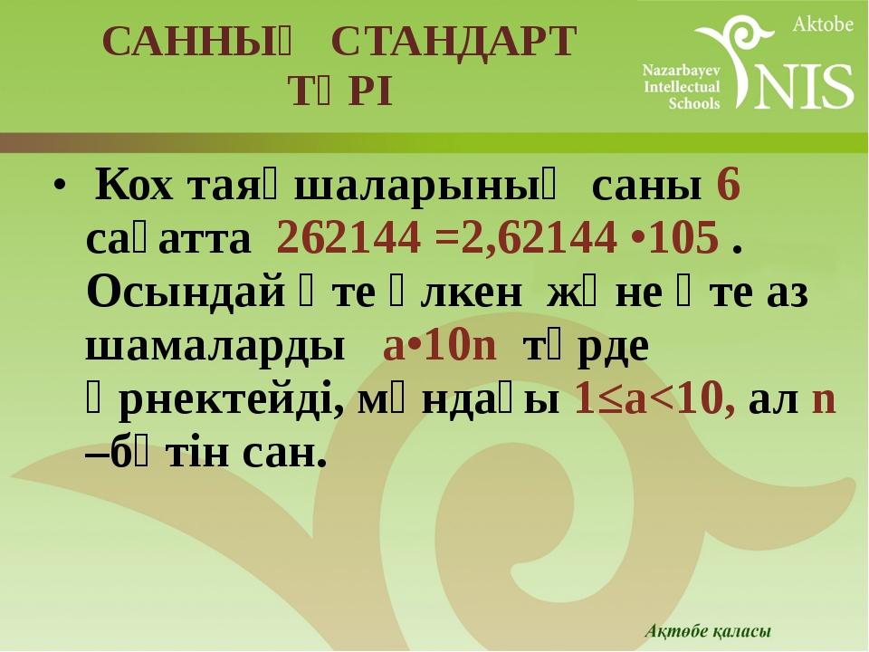 САННЫҢ СТАНДАРТ ТҮРІ Кох таяқшаларының саны 6 сағатта 262144 =2,62144 •105 ....