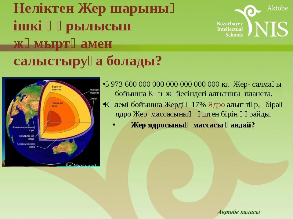5 973 600 000 000 000 000 000 000 кг. Жер- салмағы бойынша Күн жүйесіндегі а...