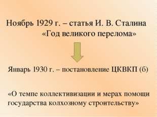 Ноябрь 1929 г. – статья И. В. Сталина «Год великого перелома» Январь 1930 г.