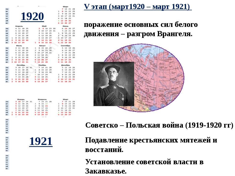 Подавление крестьянских мятежей и восстаний. V этап (март1920 – март 1921) по...