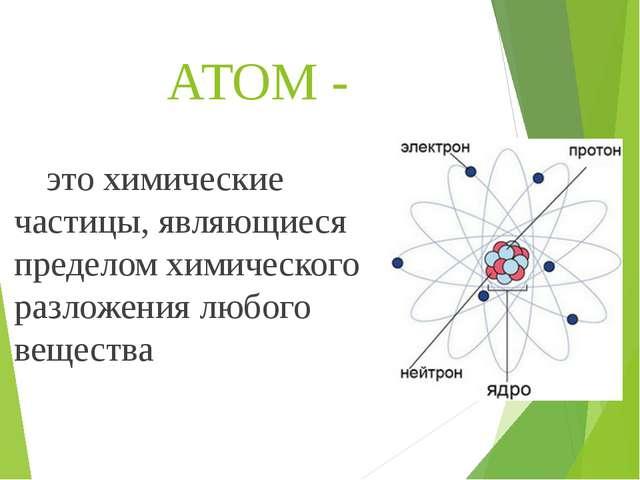 АТОМ - это химические частицы, являющиеся пределом химического разложения лю...