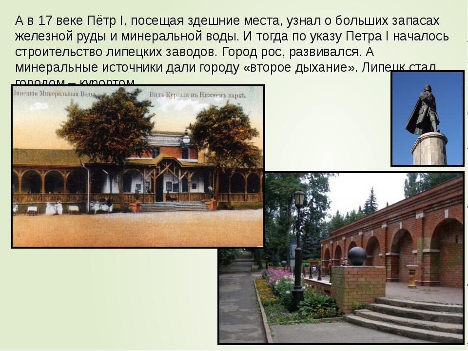 А в 17 веке Пётр I, посещая здешние места, узнал о больших запасах железной р...