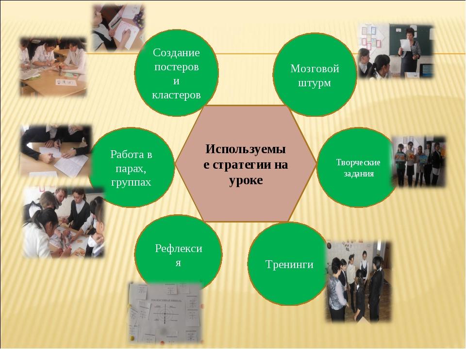 Используемые стратегии на уроке Создание постеров и кластеров Мозговой штурм...