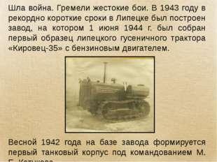 Шла война. Гремели жестокие бои. В 1943 году в рекордно короткие сроки в Липе