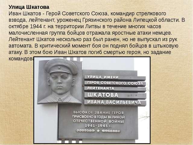 Улица Шкатова Иван Шкатов - Герой Советского Союза, командир стрелкового взво...