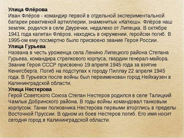 Улица Флёрова Иван Флёров - командир первой в отдельной экспериментальной бат...
