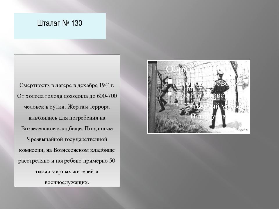 Шталаг № 130 Смертность в лагере в декабре 1941г. От холода голода доходила д...