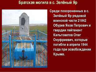 Братская могила в с. Зелёный Яр Среди похороненных в с. Зелёный Яр рядовой во