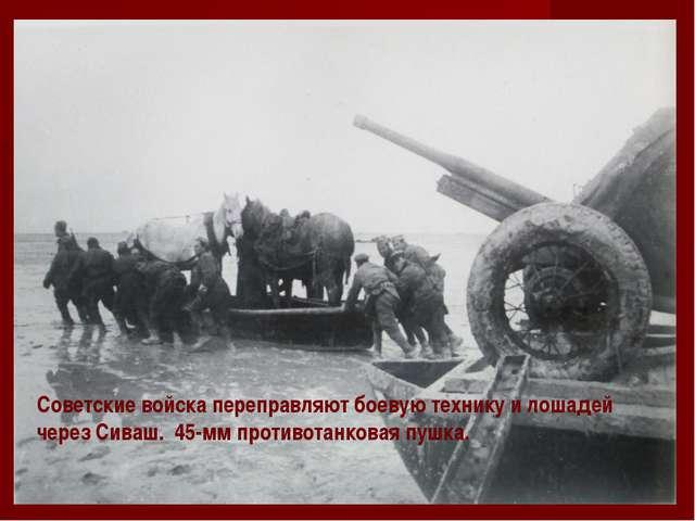 Советские войска переправляют боевую технику и лошадей через Сиваш. 45-мм про...