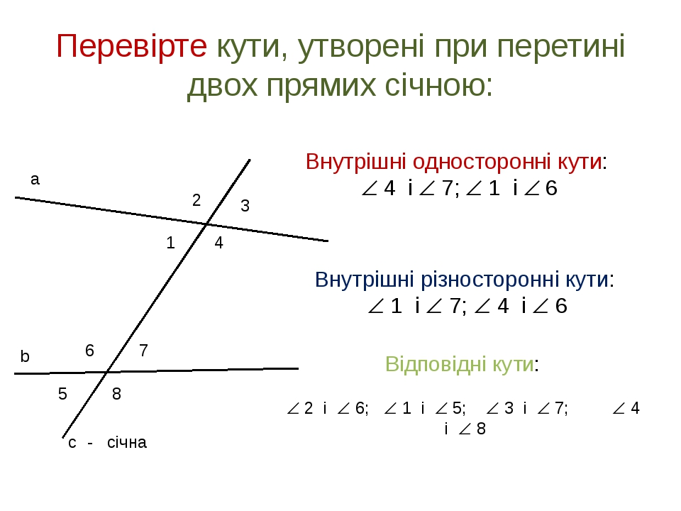 Перевірте кути, утворені при перетині двох прямих січною: 1 2 3 4 5 6 7 8 - с...