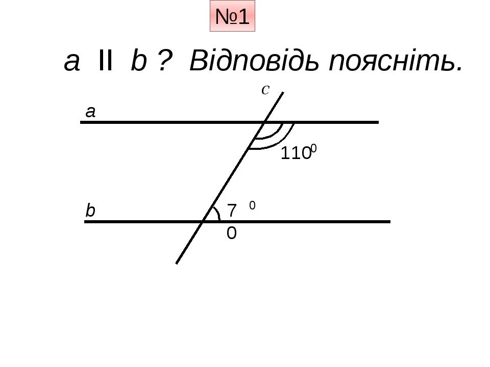 a ІІ b ? Відповідь поясніть. a b c 110 70 0 0 №1