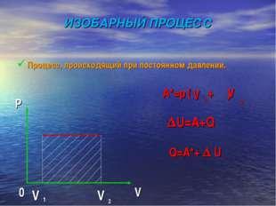ИЗОБАРНЫЙ ПРОЦЕСС Процесс, происходящий при постоянном давлении. A*=p ( + ) 