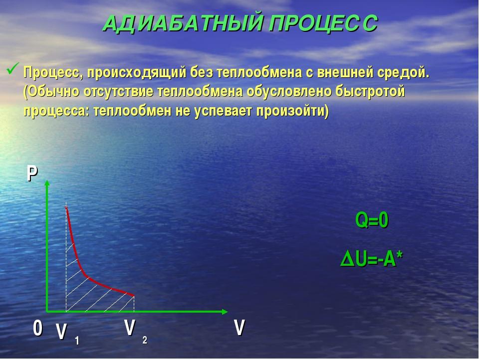 АДИАБАТНЫЙ ПРОЦЕСС Процесс, происходящий без теплообмена с внешней средой.(Об...
